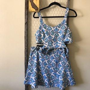 J.O.A Blue Patterned Caged Crop Top & Skirt Set